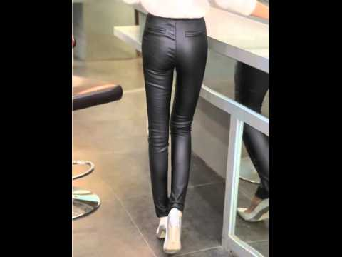 Plus velvet feet pencil high waist skinny leather pants.avi