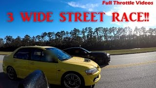 insane 3 wide 14 mile street race evo mustangs boosted ls truck
