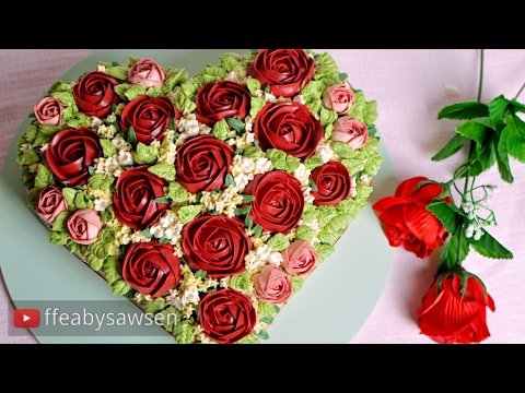 Heart shaped buttercream rose bouquet cake tutorial - for Valentine's Day, birthday or anniversary