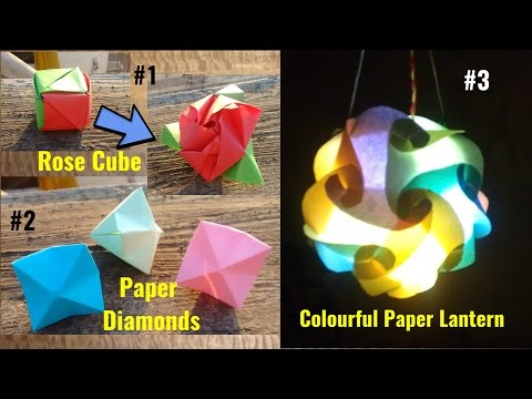 Best of Origami #1 | Magic Rose Cube , Colorful Lantern, Paper Diamond | Easy Paper Crafts Ideas