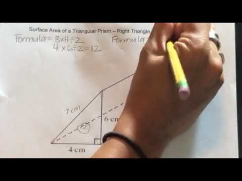 How to find the Surface Area of a Triangular Prism - Right Triangle