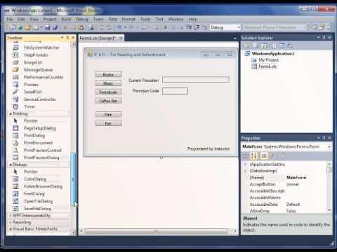 VB.NET demo 1 - create a simple program in Visual 2010