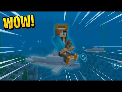 HOW TO RIDE DOLPHINS IN MINECRAFT!! - MCPE Aquatic Concept Addon (PE, WIN10)