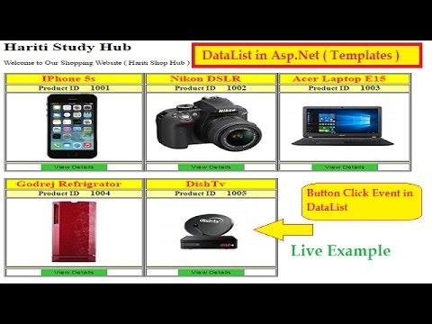 How to Add Button and Button Click Event in DataList Control Asp.Net C# | Hindi | Shopping Example