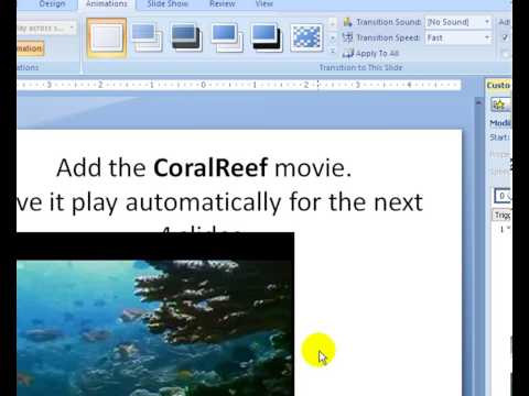 PowerPoint 2007 Lesson 15 Add a movie and play across many slides