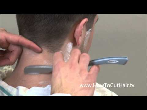 Hot Lather Neck Shave - How To Shave Outline Of A Haircut - Tapered Hairline - Natural Hairline