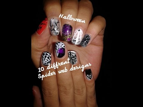 Halloween nail art/spider web for short nails - 10 different designs