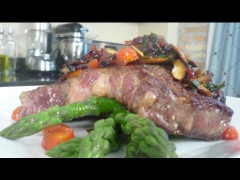 Roasted Ribeye Don Vito with Glazed Asparagus