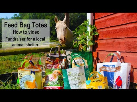 Feed Bag Tutorial-fundraiser for animal shelter-mass production step by step directions