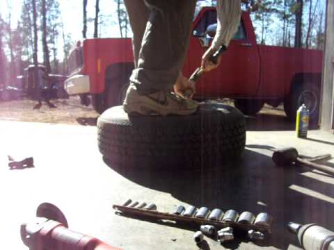 Changing a car tire with simple hand tools.