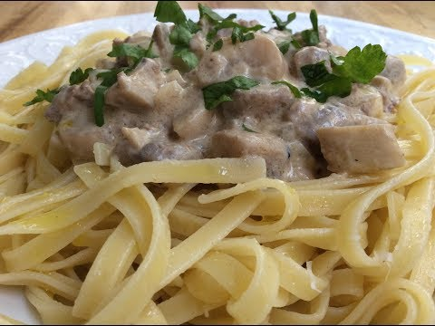 MUSHROOMS WITH GROUND MEAT RECIPE - Tastes like 'Beef Stroganoff' Easy and Light
