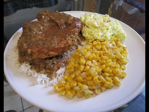 How to make Smothered Pork chops with brown gravy, rice, corn and potato salad