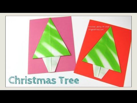 Christmas Crafts - Origami Tree -  Origami Christmas Tree Paper Craft for Handmade Card