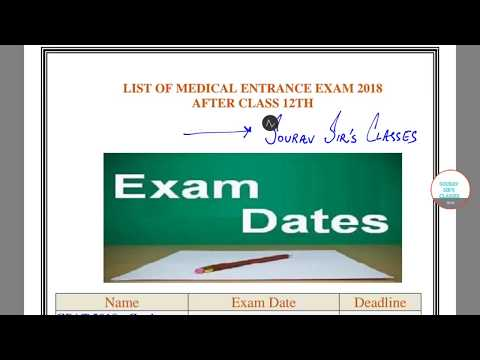 LIST OF MEDICAL EXAMS 2018 AFTER 12TH ALL BOARDS  9836793076 INDIA AND ABROAD