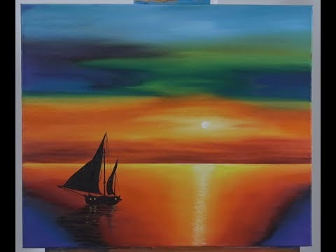 Art Lesson:  How to paint a Sunset Seascape with Traditional Oil Paint