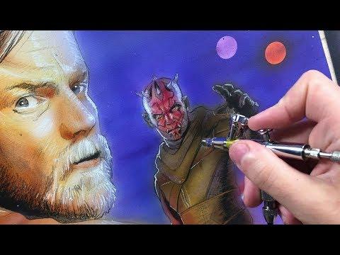 'Kenobi vs Darth Maul' Speed Painting - Timelapse