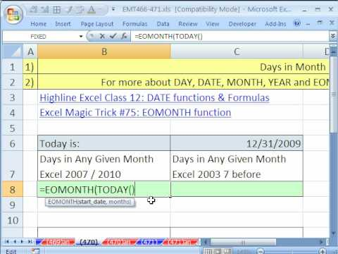 Excel Magic Trick 470: Formula For Days In Any Given Month