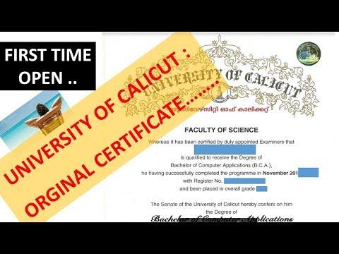 Calicut University Original Degree(UG) Certificate(കാലിക്കറ്റ് സര്വ്വകലാശാല ബിരുദ സര്ട്ടിഫിക്കറ്റ്