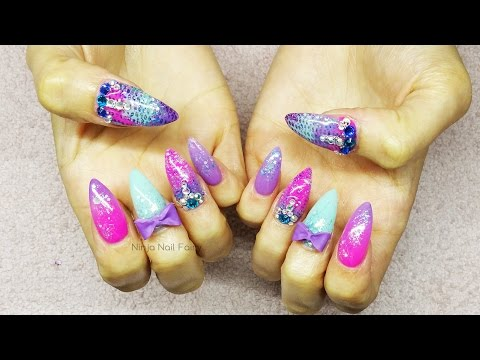 Mermaid tail inspired acrylic nail art | summer nails | glitter
