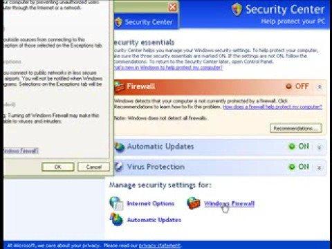 Windows XP Firewall isn't enabling
