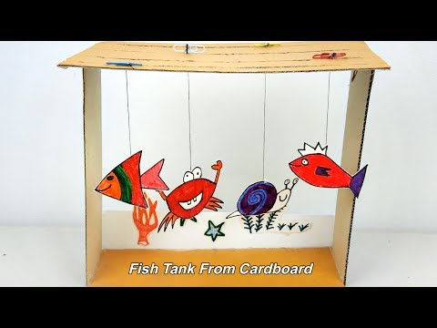 How to make an Aquarium (Fish Tank) from Cardboard | Toy for kids - Easy Craft ideas
