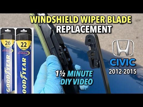 Honda Civic Wiper Blade Replacement 2012-2015 - 1 1/2 Minute DIY Video
