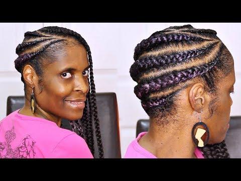 Jumbo Lemonade Braids► Purple Feed in Braids on Short Natural Hair