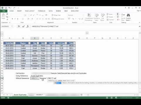 Excel Formulas - Insert the worksheet name into a cell