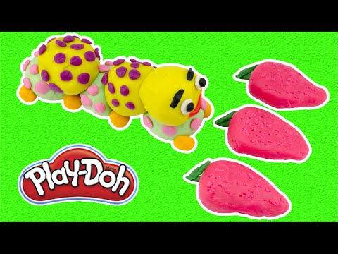 Learn Colors Play Doh DIY Silkworms Eating Mulberry Creative Fun for Kids