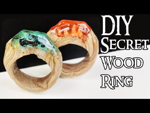 HOW TO MAKE SECRET WOOD RINGS (NO POWER TOOLS)  Tutorial polymer clay resin craft diy