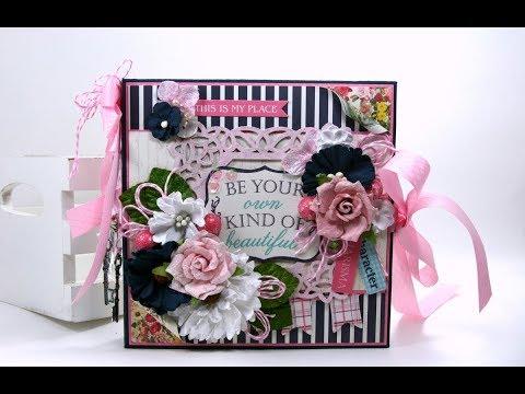 Vintage Be Your Own Kind of Beautiful Mini Album  Scrapbook Authentique Polly's Paper Studio Flip