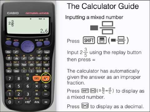 Change Fractions to Mixed Numbers on a Casio Calculator - fx-83GT PLUS,  fx-85GT PLUS Mixed Fraction