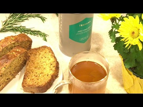 Rosemary Lemon Zucchini Bread with Teavana's tea Jade - Healthy, Easy, Quick, iPhone 7, Cuisinart