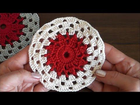 Crochet Round Motif Tutorial. Very easy  for beginners