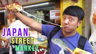 Japan STREET FOOD TOUR of Ameyoko Market in Tokyo Japan
