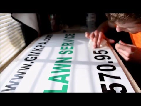 Applying Vinyl stickers to coroplast corrugated plastic business yard sign - it's easy - wet & dry