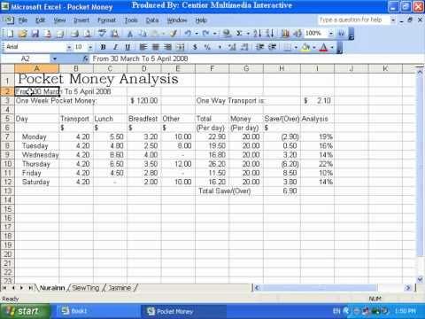 Microsoft Excel 2003 5-1 改变文字与数字的字型与大小 (Change font and size)