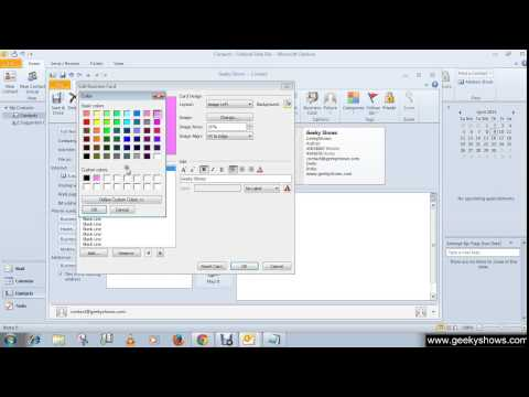 Microsoft Outlook 2010 Create Business Card