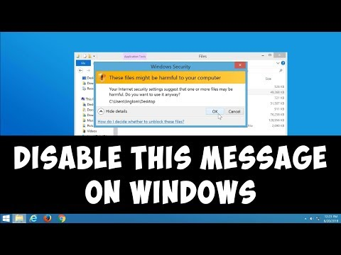 """Disable """"These files might be harmful to your computer"""" on Windows"""