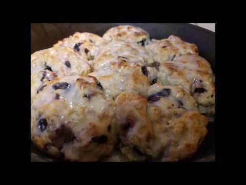 Easy Homemade Glazed Blueberry Biscuits Recipe