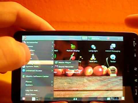 videoreview Ubuntu linux 9.10 karmic on htc hd2