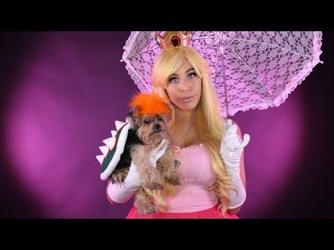 Princess Peach & Bowser Cosplay w/ your PET! - DIY