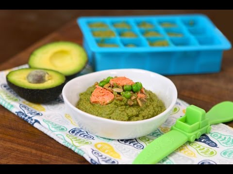 Salmon Avocado Greens baby food recipe +6M - collab with FlavCity
