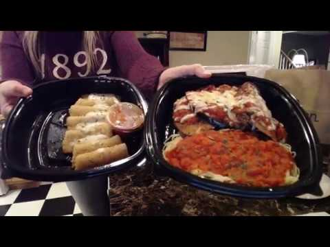 Eating Eggplant Parmigiana, Fried Mozzarella, Salad And Breadsticks From Olive Garden!
