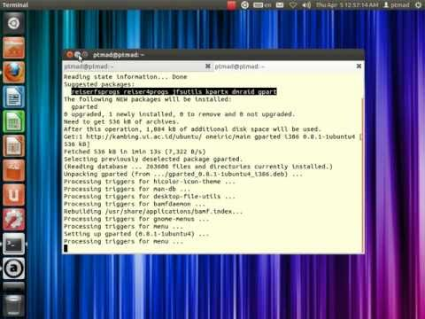 25. (Video Tutorial) install software partisi harddisk gparted di linux ubuntu 11.10