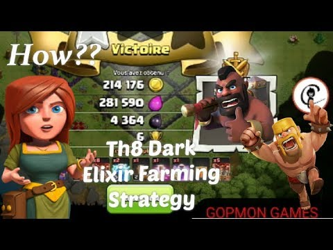 (HINDI) how to farm dark elixir town hall 8 in hindi??