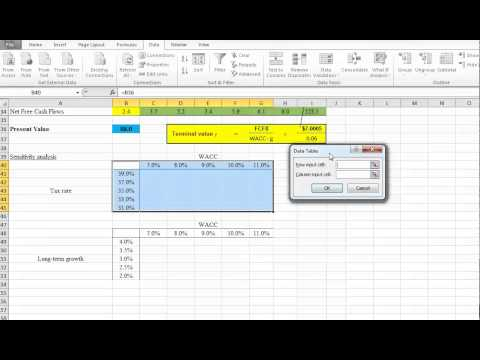 The Sensitivity Analysis using Excel - Two Variables Case