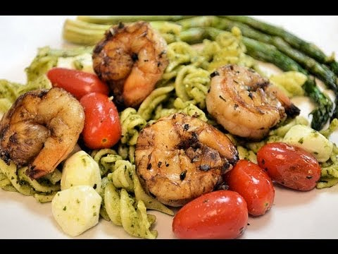 How to COOK PESTO PASTA with MARINATED SHRIMP - CookwithAPRIL