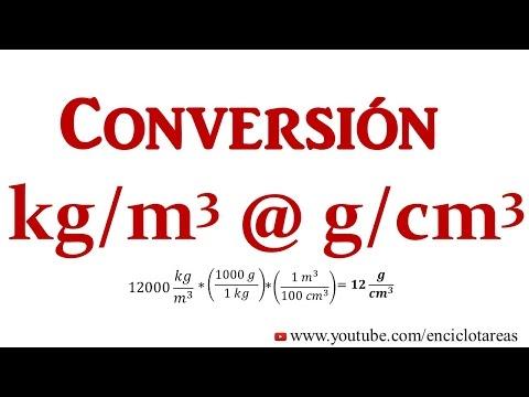 Convertir kg/m3 a g/cm3