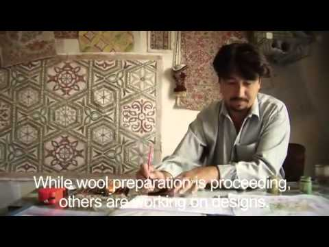 Making a hand-knotted wool rug in Afghanistan